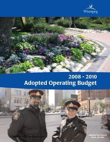 2008 – 2010 Adopted Operating Budget - City of Winnipeg