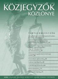 Közjegyzők közlönye 2010. 4. szám - Magyar Országos Közjegyzői ...