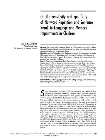 On the Sensitivity and Specificity of Nonword Repetition and ...