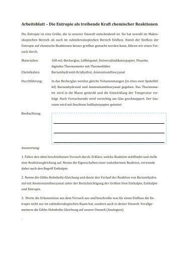 Arbeitsblatt zur Gibbs-Helmholtz-Gleichung - Kantonsschule ...