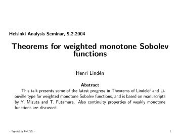 Theorems for weighted monotone Sobolev functions