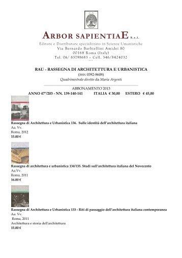 rau rassegna di architettura e urbanistica 2013 - Arbor Sapientiae
