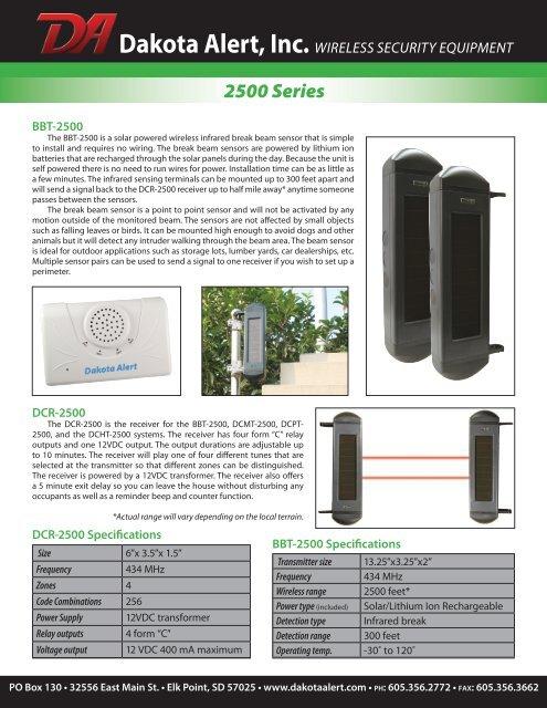 Dakota Alert DCPT-2500 Driveway Alarm Transmitter Vehicle Detector Kit 50/'