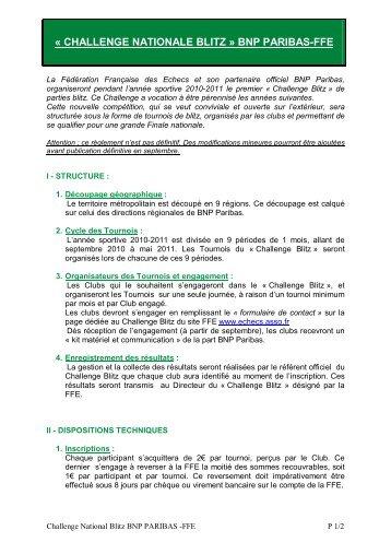 Le règlement du challenge - Fédération Française des Échecs
