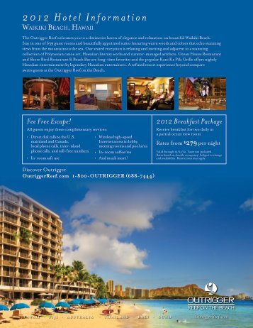 2012 Hotel Information - Outrigger Hotels and Resorts