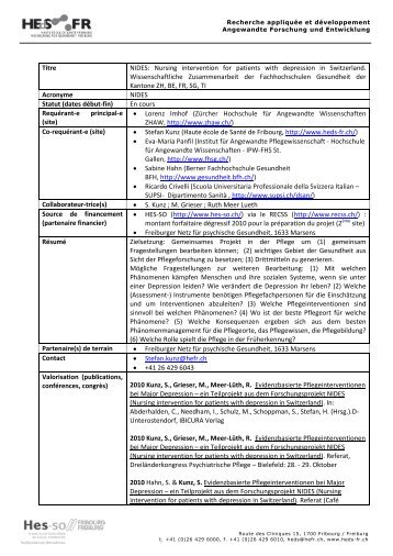 Titre NIDES: Nursing intervention for patients with ... - HEdS-FR