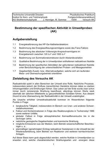 Bestimmung der spezifischen Aktivität in Umweltproben (AK ...
