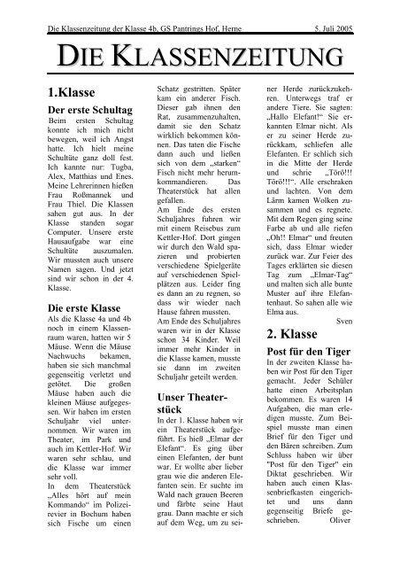 Die Klassenzeitung Grundschule Pantrings Hof