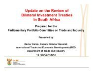 Update on the Review of Bilateral Investment Treaties in South Africa
