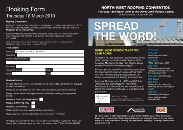 Booking Form - Institute of Roofing