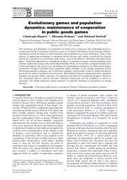 Evolutionary games and population dynamics - Behavioural Ecology
