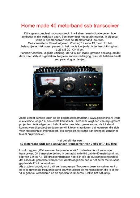 Home made 40 meterband ssb transceiver