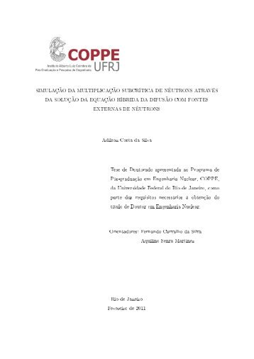 Adilson Costa da Silva - Programa de Engenharia Nuclear - UFRJ
