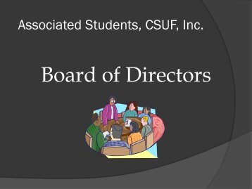 View the Board of Directors training. - Associated Students, Inc.