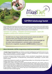 SZFÉRA közösségi betét - MagNet Magyar Közösségi Bank