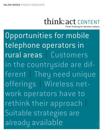 opportunities for mobile telephone operators in rural areas ...