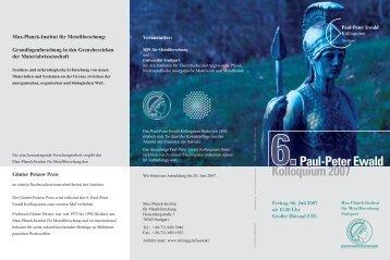Kolloquium 2007 Paul-Peter Ewald - Max-Planck-Institut für ...
