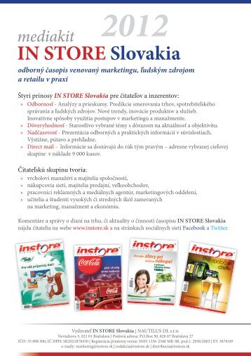mediakit IN STORE Slovakia vo formáte PDF - 2012 2. konferencia ...