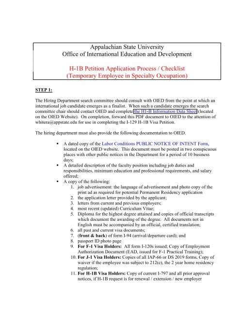 H-1B Petition Application Process / Checklist