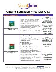 Ontario Education Price List K-12 - VocaLinks