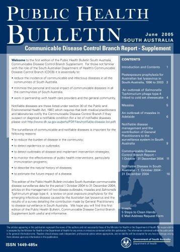 Public Health Bulletin CDCB Supplement, June 2005