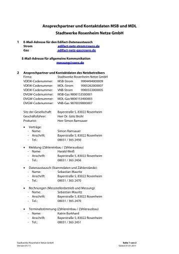 Ansprechpartner und Kontaktdaten zu MSB und MDL - Netze GmbH