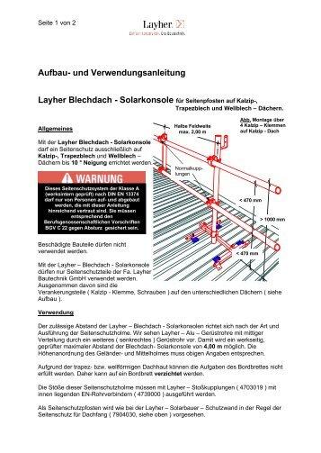 AuV Blechdach-Solarkonsole