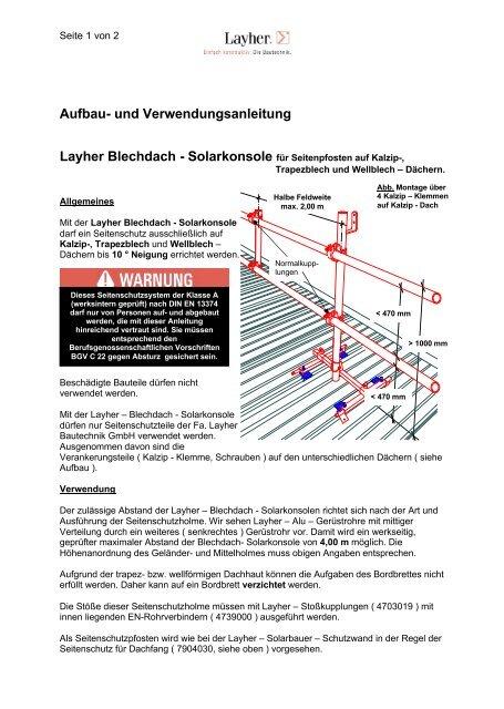 Bekannt AuV Blechdach-Solarkonsole OH81