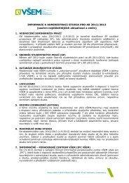 INFORMACE K ADMINISTRACI STUDIA PRO AR 2012/2013 - VÅEM
