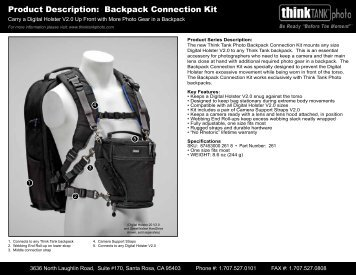 Product Description: Backpack Connection Kit - Think Tank Photo