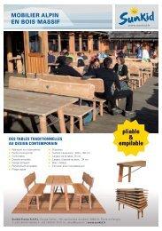 Sunkid Mobilier Alpin en bois massif < pliable & empilable >