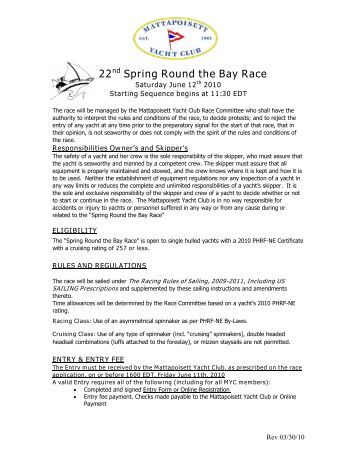 22nd Spring Round the Bay Race - Mattapoisett Yacht Club
