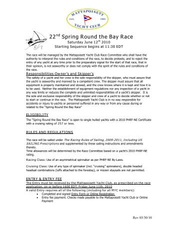 22nd Spring Round the Bay Race - Mattapoisett Yacht Club