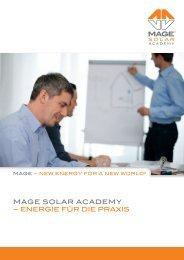 MAGE SOLAR ACADEMY – ENERGIE füR DIE PRAxIS