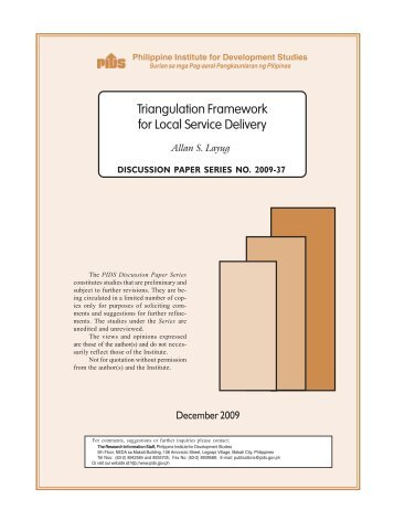 Triangulation Framework for Local Service Delivery - Philippine ...