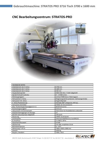 Gebrauchtmaschine: STRATOS PRO 3716 Tisch ... - DREATEC GmbH