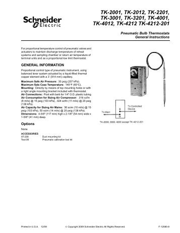 (Schneider Electric) / Pneumatic Bulb Thermostats - Categories On ...