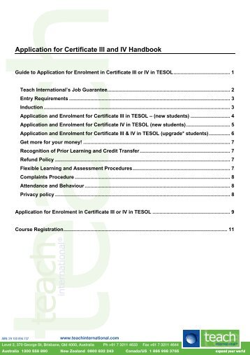 Guide to Application for Enrolment in Certificate III or IV in TESOL