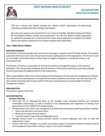 Finance Director Job Description General   - City Of Buellton