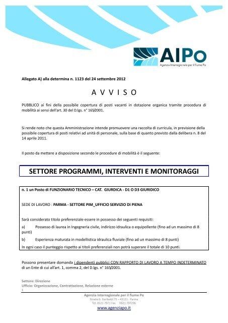 A  V  V  I  S  O - Agenzia Interregionale per il fiume Po