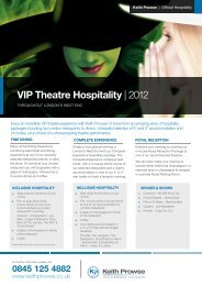VIP Theatre Hospitality | 2012 - Keith Prowse