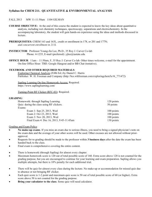 Syllabus for CHEM 211  QUANTITATIVE & ENVIRONMENTAL