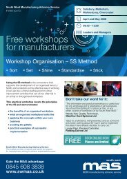 Free workshops for manufacturers - SWMAS
