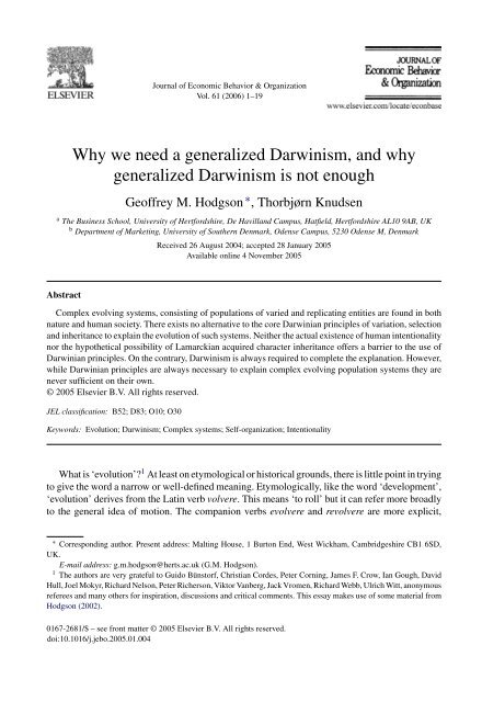 Without Miracles Universal Selection Theory and the Second Darwinian Revolution