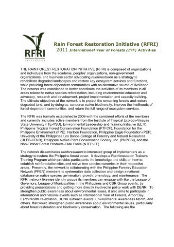 Rain Forest Restoration Initiative (RFRI) - Rainforestation