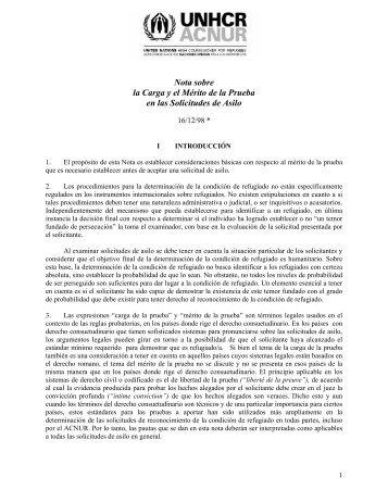 Nota sobre la Carga y el Mérito de la Prueba en las ... - Acnur