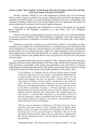Moro Problem - Commission on Human Rights