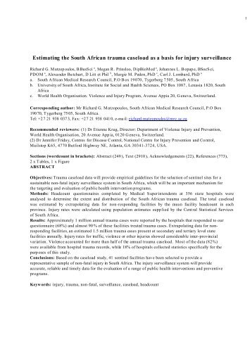 Estimating the South African trauma caseload as a basis for injury ...