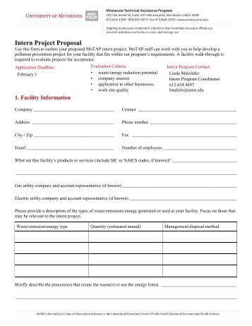Intern Project Proposal - Minnesota Technical Assistance Program