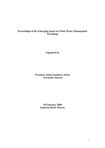 Emerging Issues in Urban Waste Management ... - Practical Action